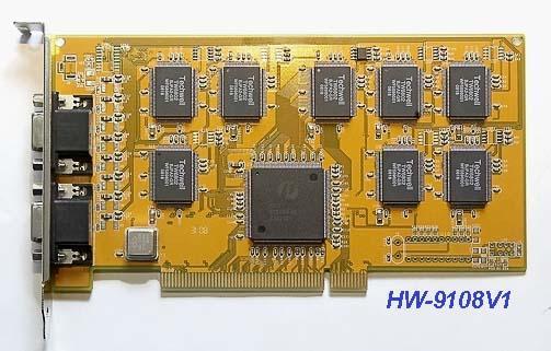 Плата видеозахвата реального времени с программным сжатием, 8 каналов, 200 к./сек Hawell HW-9108B